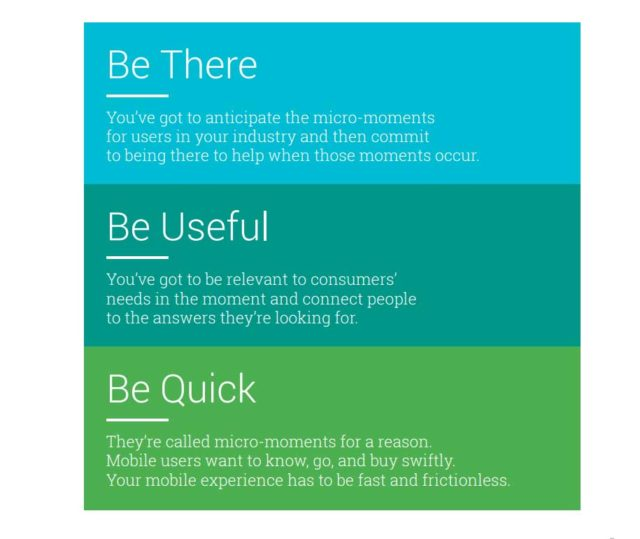 Google three strategies - be there, be useful, and be quick
