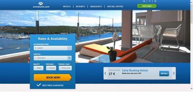 arenaturist.com vertical layout booking engine