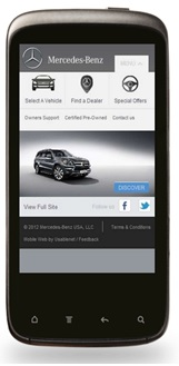 Mobile website matching - Mercedes USA site
