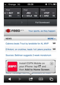 An example of an application with a first login to ESPN