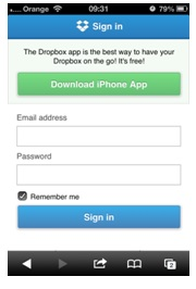 Example of action buttons that offer an app on a dropbox site