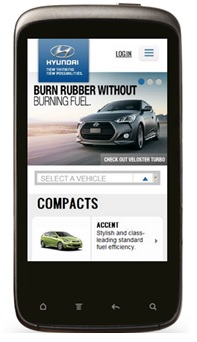 A site adapted for surfing from Hyundai UK devices