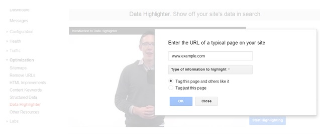 Set the URL of the page - Data Highlighter