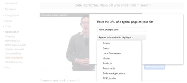 Selects the type of content to mark up - Data-Highlighter