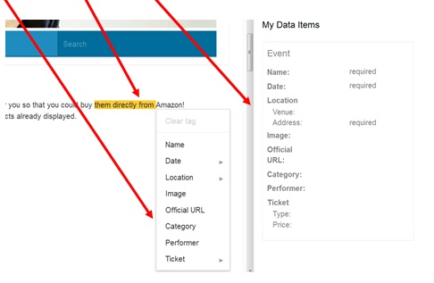 Select a tag in the tags box - data-highlighter