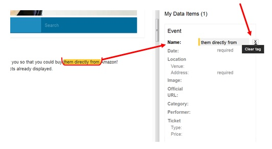 Selecting a name tag - data highlighter