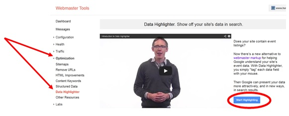 Entering data highlighter and starting using the tool