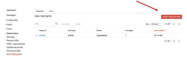 Start Marking - Data Highlighter