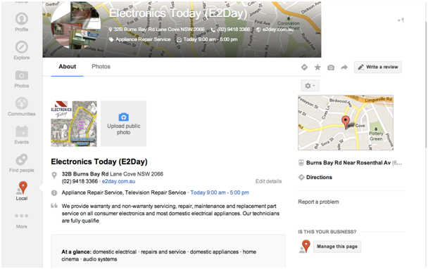 Google+ Local pages Service