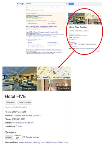 example of a Google search results page with a Google local