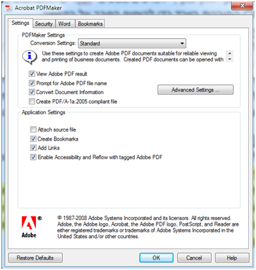 preferences window of adobe acrobat for document conversion