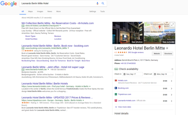 Metasearch in Google search results