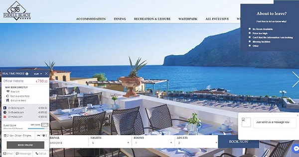 Real-time price comparison on the hotel website