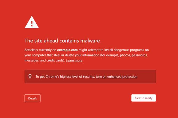 Malware warning as displayed by Google Chrome